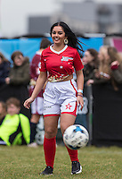 Natasha Olrog (Music Group PYT (Pretty Young Things) during the SOCCER SIX Celebrity Football Event at the Queen Elizabeth Olympic Park, London, England on 26 March 2016. Photo by Andy Rowland.