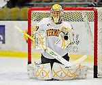 30 October 2010: University of Vermont Catamount goaltender Rob Madore, a Junior from  Pittsburgh, PA, warms up prior to facing the University of Maine Black Bears at Gutterson Fieldhouse in Burlington, Vermont. The Black Bears defeated the Catamounts 3-2 in sudden death overtime. Mandatory Credit: Ed Wolfstein Photo