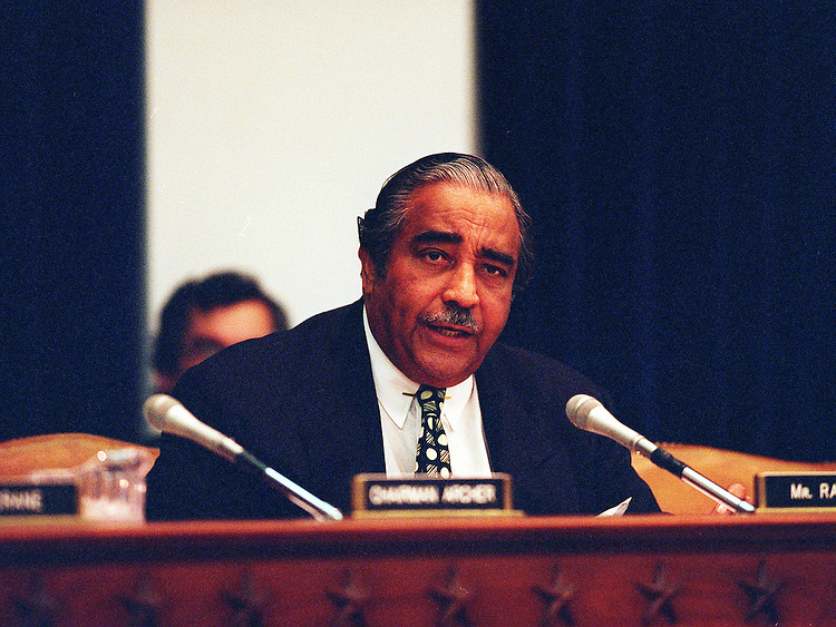 2/25/98.FY99 BUDGET TAX PROVISIONS--House Ways and Means Committee Ranking Member Charles B. Rangel,D-N.Y., during the hearing on revenue provisions in President Clinton's RY99 budget proposals that fall under the committee's jurisdiction. .CONGRESSIONAL QUARTERLY PHOTO BY DOUGLAS GRAHAM
