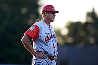 Williamsport Crosscutters manager Pat Borders (10) during a game against the Batavia Muckdogs on July 15, 2015 at Dwyer Stadium in Batavia, New York.  Williamsport defeated Batavia 6-5.  (Mike Janes/Four Seam Images)