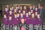 Pupils from Gaelscoil Faithleann who made their Confirmation in the Church of the Ressurection Killarney on Wednesday with their teacher Tomás O Murchú and Principal Prioncias Mac Curtain Wednesday with Bishop Bill Murphy, Fr Cieran O'Brien, Fr Moses Muraya, Fr Pat Horgan and  Fr Niall Howard.