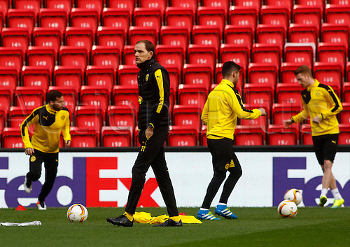 13.04.2016. Anfield, Liverpool, England. Europa League. Liverpool versus Borussia Dortmund Pre Match Press Conference and Training. Coach Thomas Tuchel oversees his Borussia Dortmund players training at Anfield ahead of tomorrow night's second of the Europa Cup quarter final versus Liverpool.