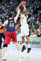 Real Madrid's player Anthony Randolph and FC Barcelona Lassa's player Ante Tomic during the match of the semifinals of Supercopa of La Liga Endesa Madrid. September 23, Spain. 2016. (ALTERPHOTOS/BorjaB.Hojas)