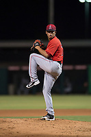 AZL Angels relief pitcher Sadrac Franco (72) delivers a pitch during an Arizona League game against the AZL Indians 2 at Tempe Diablo Stadium on June 30, 2018 in Tempe, Arizona. The AZL Indians 2 defeated the AZL Angels by a score of 13-8. (Zachary Lucy/Four Seam Images)
