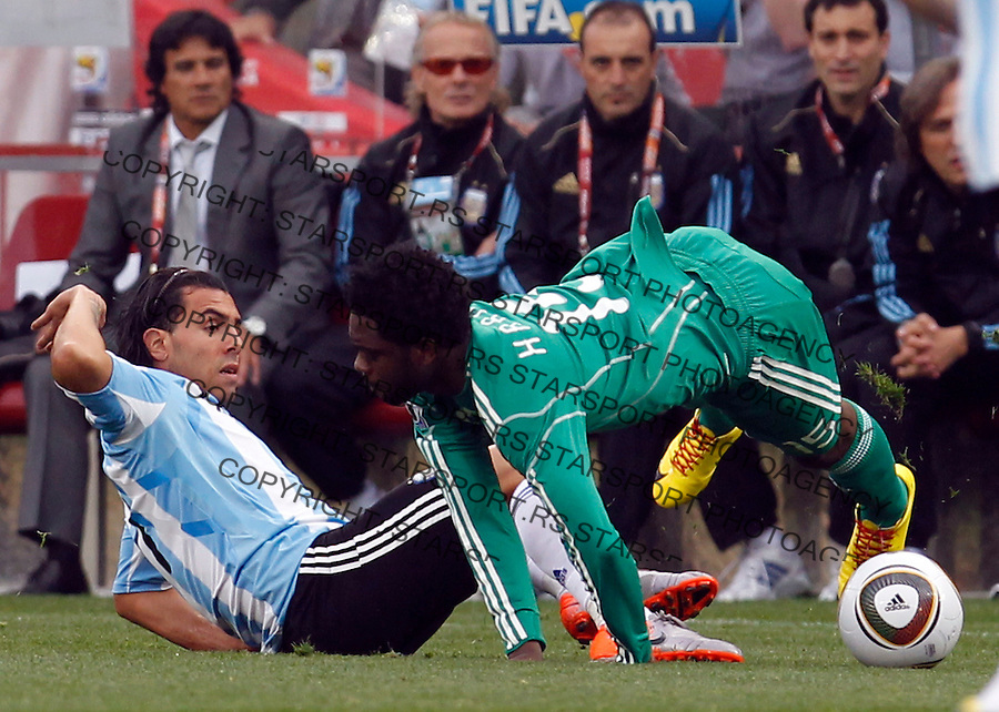 Carlos Tevez of Argentina fights for the ball on group B match against Nigeria at a Ellis Park Stadium in Johannesburg, South Africa, Saturday, June 12, 2010. 12.6.2010 (credit & photo: Pedja Milosavljevic / +381 64 1260 959 / thepedja@gmail.com / STARSPORT )