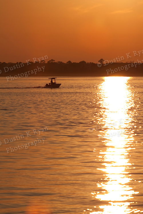 Charleston South Carolina Lowcountry Sunset on the Battery fishing boat