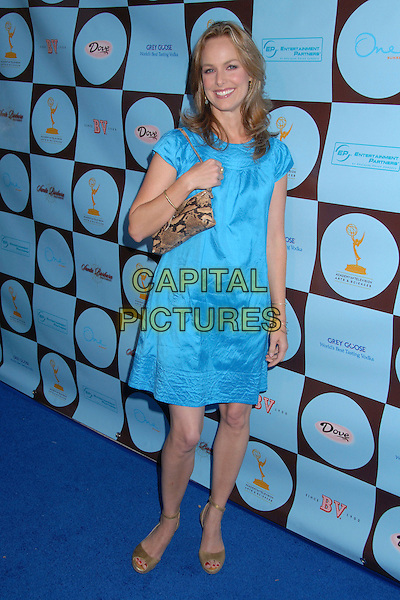MELORA HARDIN.Academy of Television Arts & Sciences Honors 2007 Primetime Emmy Nominees, West Hollywood, California, USA..September 9th, 2007.full length dress snakeskin bag purse beige shoes turquoise .CAP/ADM/BP.©Byron Purvis/AdMedia/Capital Pictures.