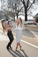 Charlotte Crosby and Holly Hagan at the launch of spoof political party 'The Geordie Party' at Speakers Corner, Hyde Park, London. 11/03/2015 Picture by: Steve Vas / Featureflash