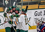 9 February 2018: University of Vermont Catamount Forward Ali O'Leary (14), a Sophomore from Reading, MA, celebrates scoring the game winning goal in the third period against the University of Connecticut Huskies at Gutterson Fieldhouse in Burlington, Vermont. The Lady Cats defeated the Huskies 1-0 the first game of their weekend Hockey East series. Mandatory Credit: Ed Wolfstein Photo *** RAW (NEF) Image File Available ***