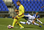 Villarreal's Mario Gonzalez and Leganes's Unai Bustinza during the XXXVII trophy of Legane's City between CD Leganes and Villarreal CF at Butarque Stadium. August 13, 2016. (ALTERPHOTOS/Rodrigo Jimenez)
