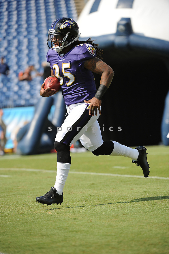 ANTHONY ALLEN, of the Baltimore Ravens, in action, during the Ravens game against the Tennessee Titans on September 18, 2011 at LP Field in Nashville, TN. The Titans beat the Ravens 26-13.