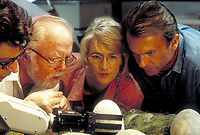 Jurassic Park (1993)<br /> Jeff Goldblum as Dr. Ian Malcolm, Richard Attenborough as John Hammond, Laura Dern as Dr. Ellie Sattler and Sam Neill as Dr. Alan Grant, watching a robotic arm handle the dinosaur eggs in a scene from the film<br /> *Filmstill - Editorial Use Only*<br /> CAP/KFS<br /> Image supplied by Capital Pictures