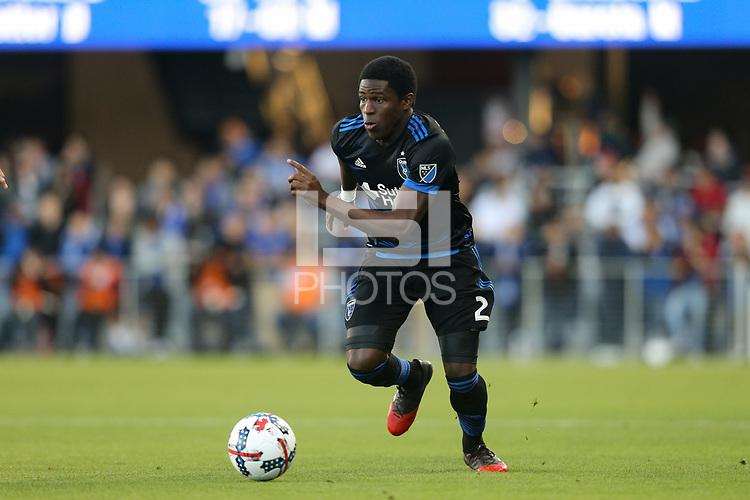 San Jose, CA - Wednesday May 17, 2017: Kofi Sarkodie during a Major League Soccer (MLS) match between the San Jose Earthquakes and Orlando City SC at Avaya Stadium.
