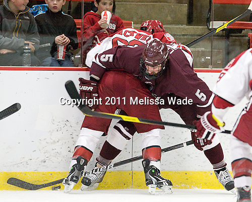 Colin Blackwell (Harvard - 63), Mike Leidl (Colgate - 5) - The Harvard University Crimson defeated the visiting Colgate University Raiders 4-2 on Saturday, November 12, 2011, at Bright Hockey Center in Cambridge, Massachusetts.