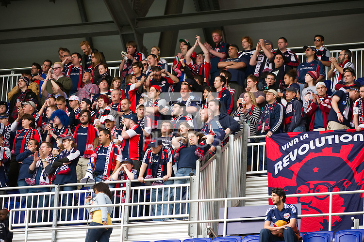 New England Revolution fans. The New York Red Bulls defeated the New England Revolution 1-0 during a Major League Soccer (MLS) match at Red Bull Arena in Harrison, NJ, on April 28, 2012.