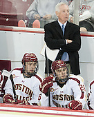 Johnny Gaudreau (BC - 13), Jerry York (BC - Head Coach), Austin Cangelosi (BC - 26) - The Boston College Eagles defeated the visiting St. Francis Xavier University X-Men 8-2 in an exhibition game on Sunday, October 6, 2013, at Kelley Rink in Conte Forum in Chestnut Hill, Massachusetts.