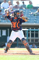 Roberto Pena #10 of the Lancaster JetHawks during a game against the Inland Empire 66ers at The Hanger on May 26, 2014 in Lancaster, California. Lancaster defeated Inland Empire, 6-5. (Larry Goren/Four Seam Images)