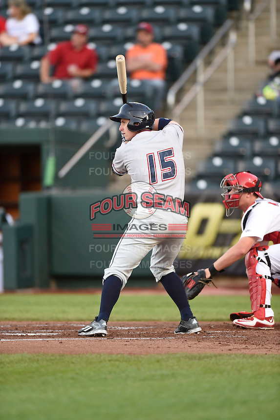 ***Temporary Unedited Reference File***Northwest Arkansas Naturals designated hitter Frank Schwindel (15) during a game against the Springfield Cardinals on April 26, 2016 at Hammons Field in Springfield, Missouri.  Northwest Arkansas defeated Springfield 5-2.  (Mike Janes/Four Seam Images)