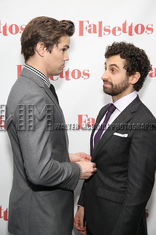 Andrews Rannells and Brandon Uranowitz attends the Opening Night After Party for 'Falsettos'  at the New York Hilton Hotel on October 27, 2016 in New York City.