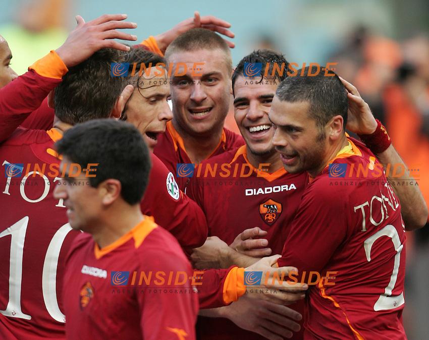 As Roma team group<br /> Italian &quot;Serie A&quot; 2006-07<br /> 11 Feb 2007 (Match Day 23)<br /> Roma-Parma (3-0)<br /> &quot;Olimpico&quot;-Stadium-Roma-Italy<br /> As Roma Midfielder Simone Perrotta (2nd R) celebrates after scoring with teammates Max Tonetto (L), Daniele De Rossi (3rd L), Rodrigo Taddei (3rd R), Francesco Totti and David Pizarro<br /> Esultanza di Simone Perrotta dopo il gol<br /> Photographer: Andrea Staccioli INSIDE
