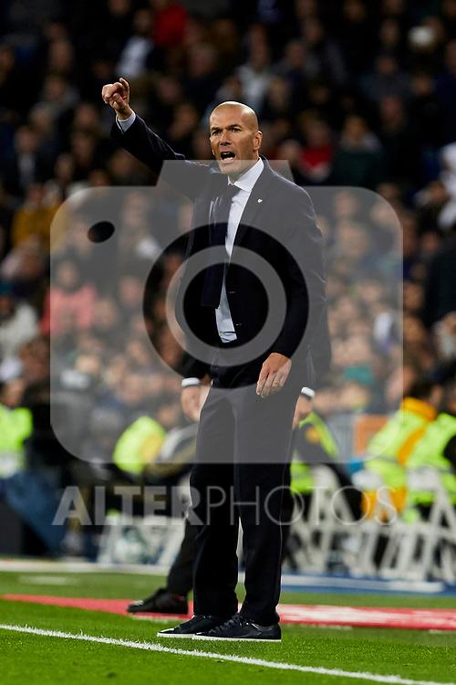 Zinedine Zidane coach of Real Madrid during La Liga match between Real Madrid and Real Betis Balompie at Santiago Bernabeu Stadium in Madrid, Spain. November 02, 2019. (ALTERPHOTOS/A. Perez Meca)
