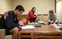 Occidental College students, from left, Jeh Johnson '17, Morgan Bennett-Smith '17 and Sammi Morrill '17, study for finals in Swan Hall on Dec. 11, 2013. (Photo by Marc Campos, Occidental College Photographer)
