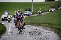(eventual race winner) Jasper Stuyven (BEL/Trek-Segafredo) leading the front group over the Ruiterstraat cobbles<br /> <br /> 75th Omloop Het Nieuwsblad 2020 (1.UWT)<br /> Gent to Ninove (BEL): 200km<br /> <br /> ©kramon