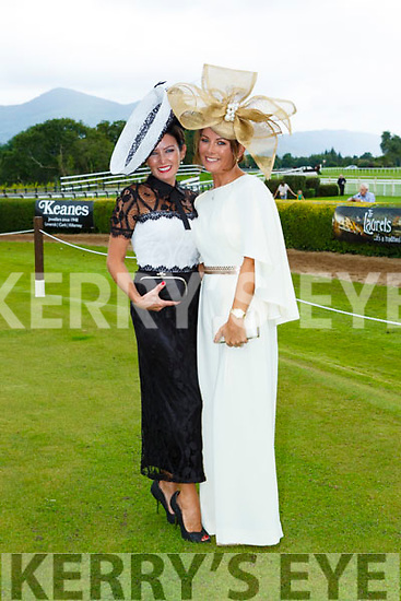 Siobhain Kennedy Tournafulla right the winner of the best dressed at ladies day at  Killarney Races on Saturday with her sister Mary Woulfe Athea