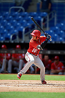 Washington Nationals Ricardo Mendez (16) at bat during a Florida Instructional League game against the Miami Marlins on September 26, 2018 at the Marlins Park in Miami, Florida.  (Mike Janes/Four Seam Images)