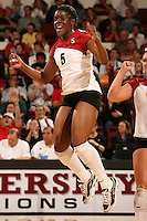 18 November 2005: Njideka Nnamani during Stanford's 3-2 win over California in the Big Spike at Maples Pavilion in Stanford, CA.
