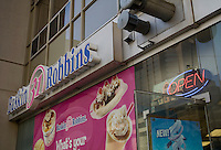 A Baskin Robbins store is pictured in Toronto April 19, 2010. Baskin-Robbins is a global chain of ice cream parlors founded by Burt Baskin and Irvine Robbins in 1953, from the merging of their respective ice cream parlors, in Glendale, California.