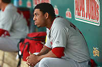 Oscar Taveras (15) of the Memphis Redbirds during the game against the Salt Lake Bees at Smith's Ballpark on June 18, 2014 in Salt Lake City, Utah.  (Stephen Smith/Four Seam Images)