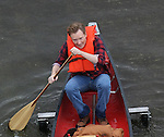 4-2-09 Exclusive.Conan O'Brien Obrien filming for his TV show wearing an orange life vest paddling down the L.A River in a canoo with training wheels ...  AbilityFilms@yahoo.com.805-427-3519.www.AbilityFilms.com