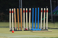 Cricket stumps in a line during Wanstead and Snaresbrook CC vs Ilford CC, Shepherd Neame Essex League Cricket at Overton Drive on 17th June 2017