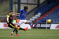Rotherham United's Will Vaulks (left) in action with Oldham Athletic's Kundai Benyu (On loan from Celtic) during the Sky Bet League 1 match between Oldham Athletic and Rotherham United at Boundary Park, Oldham, England on 13 January 2018. Photo by Juel Miah / PRiME Media Images.