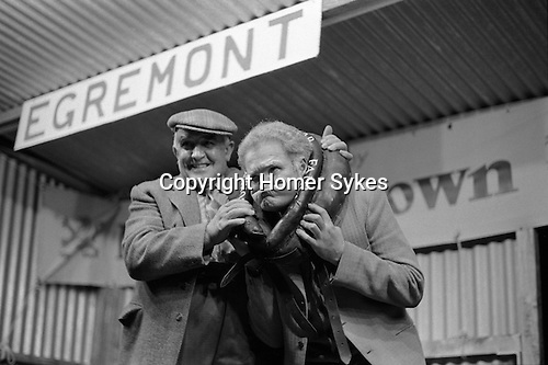 Gurning Competition at the Egremont Crabapple Fair, Egremont, Cumbria England 1975.<br />