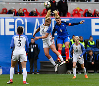 Harrison, NJ - Sunday March 04, 2018: Lindsey Horan, Amanine Henry during a 2018 SheBelieves Cup match match between the women's national teams of the United States (USA) and France (FRA) at Red Bull Arena.