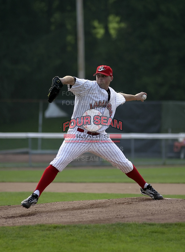 July 30, 2004:  Pitcher Taylor Tankersley of the Jamestown Jammers, Single-A NY-Penn League affiliate of the Florida Marlins, during a game at Russell Diethrick Park in Jamestown, NY.  Photo by:  Mike Janes/Four Seam Images