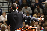 Democratic presidential hopeful Sen. Barack Obama, (D-IL), speaks at a Town Hall campaign stop at Westerville Central High School in Westerville, Ohio, on March 2, 2008. (Kevin Craiglow/PressPhotoIntl.com)