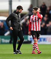 Lincoln City manager Danny Cowley, left, with Lincoln City's Tom Pett at the end of the game<br /> <br /> Photographer Chris Vaughan/CameraSport<br /> <br /> The EFL Sky Bet League Two - Lincoln City v Crewe Alexandra - Saturday 6th October 2018 - Sincil Bank - Lincoln<br /> <br /> World Copyright &copy; 2018 CameraSport. All rights reserved. 43 Linden Ave. Countesthorpe. Leicester. England. LE8 5PG - Tel: +44 (0) 116 277 4147 - admin@camerasport.com - www.camerasport.com