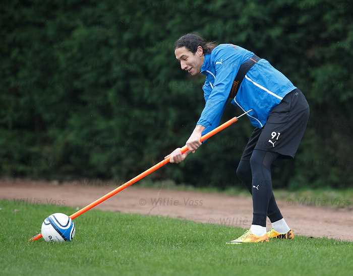 Bilel Mohsni invents a new game of football golf at training today