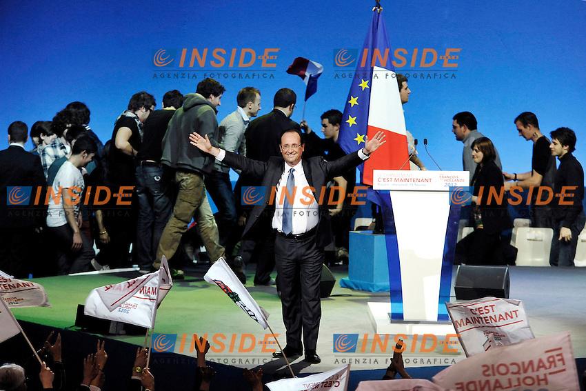 Il candidato per le presidenziali francesi del 2012 Francois Hollande.15/02/2012  Meeting del Partito Socialista.Zenith De Rouen,  Parigi, Francia .Foto Insidefoto/ Gerard Roussel /Panoramic. ITALY ONLY.