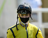 Jockey George Bass during Horse Racing at Salisbury Racecourse on 9th August 2020