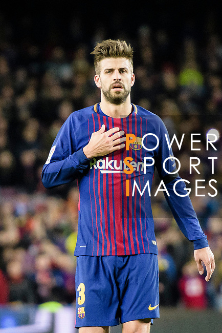 Gerard Pique of FC Barcelona gestures during the La Liga 2017-18 match between FC Barcelona and Deportivo La Coruna at Camp Nou Stadium on 17 December 2017 in Barcelona, Spain. Photo by Vicens Gimenez / Power Sport Images