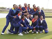 Team Europe celebrate after winning back the Ryder Cup, Le Golf National, Iles-de-France, France. 30/09/2018.<br /> Picture Claudio Scaccini / Golffile.ie<br /> <br /> All photo usage must carry mandatory copyright credit (&copy; Golffile | Claudio Scaccini)