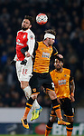 Olivier Giroud of Arsenal challenges Nick Powell of Hull City  - English FA Cup - Hull City vs Arsenal - The KC Stadium - Hull - England - 8th March 2016 - Picture Simon Bellis/Sportimage
