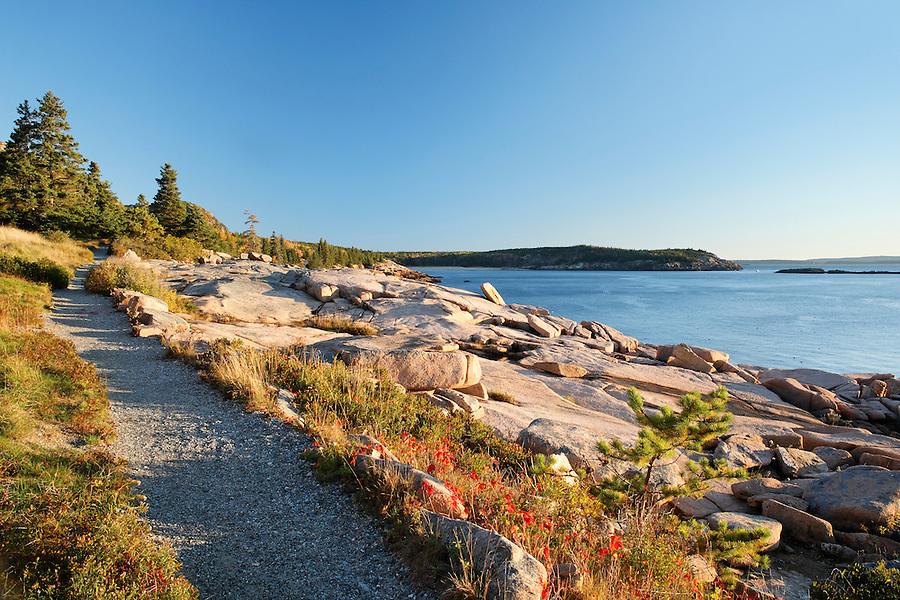 Trail along rocky shoreline, Frenchman Bay, Mount Desert Island, Acadia National Park, Hancock County, Maine, USA