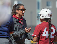NWA Democrat-Gazette/BEN GOFF @NWABENGOFF<br /> Courtney Deifel, Arkansas head coach, talks to Sam Torres in the 7th inning vs South Carolina Sunday, March 17, 2019, at Bogle Park in Fayetteville.