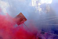 Manifestazione davanti all'ambasciata turca per protestare contro gli accordi tra Unione Europea e Turchia sui migranti, a Roma, 1 maggio 2016.<br /> Activists attend a protest in front of the Turkish Embassy against the agreement between the EU and Turkey on migrants in Rome, 1 May 2016.<br /> UPDATE IMAGES PRESS/Riccardo De Luca