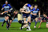 Mike Haley of Sale Sharks takes on the Montpellier defence. European Rugby Challenge Cup quarter final, between Sale Sharks and Montpellier on April 8, 2016 at the AJ Bell Stadium in Manchester, England. Photo by: Patrick Khachfe / JMP